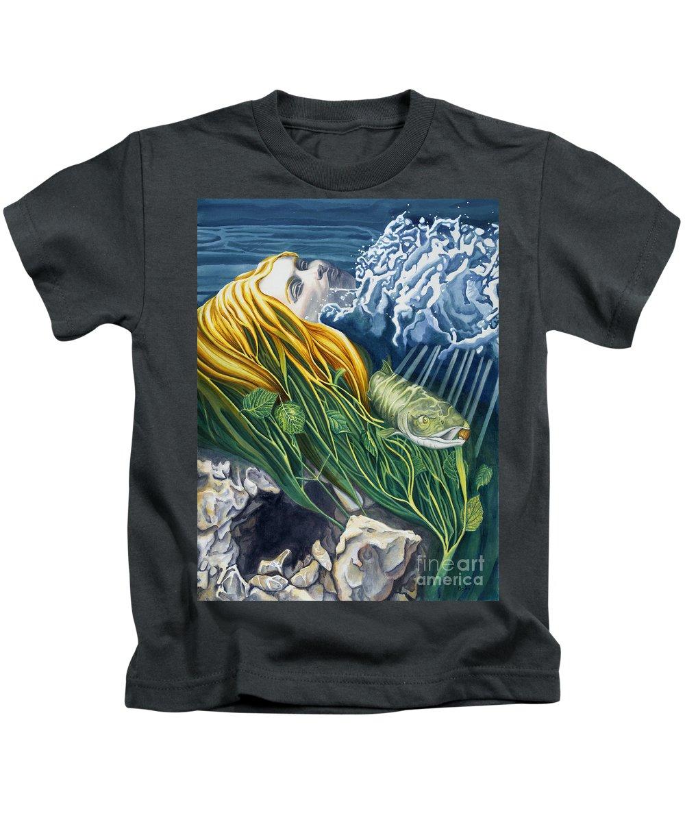 Boann Kids T-Shirt featuring the painting Boann Transformation Of A Goddess by Do'an Prajna - Antony Galbraith