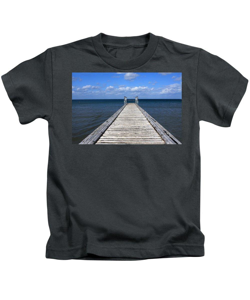 Boardwalk Kids T-Shirt featuring the photograph Boardwalk To The Ocean by Aidan Moran