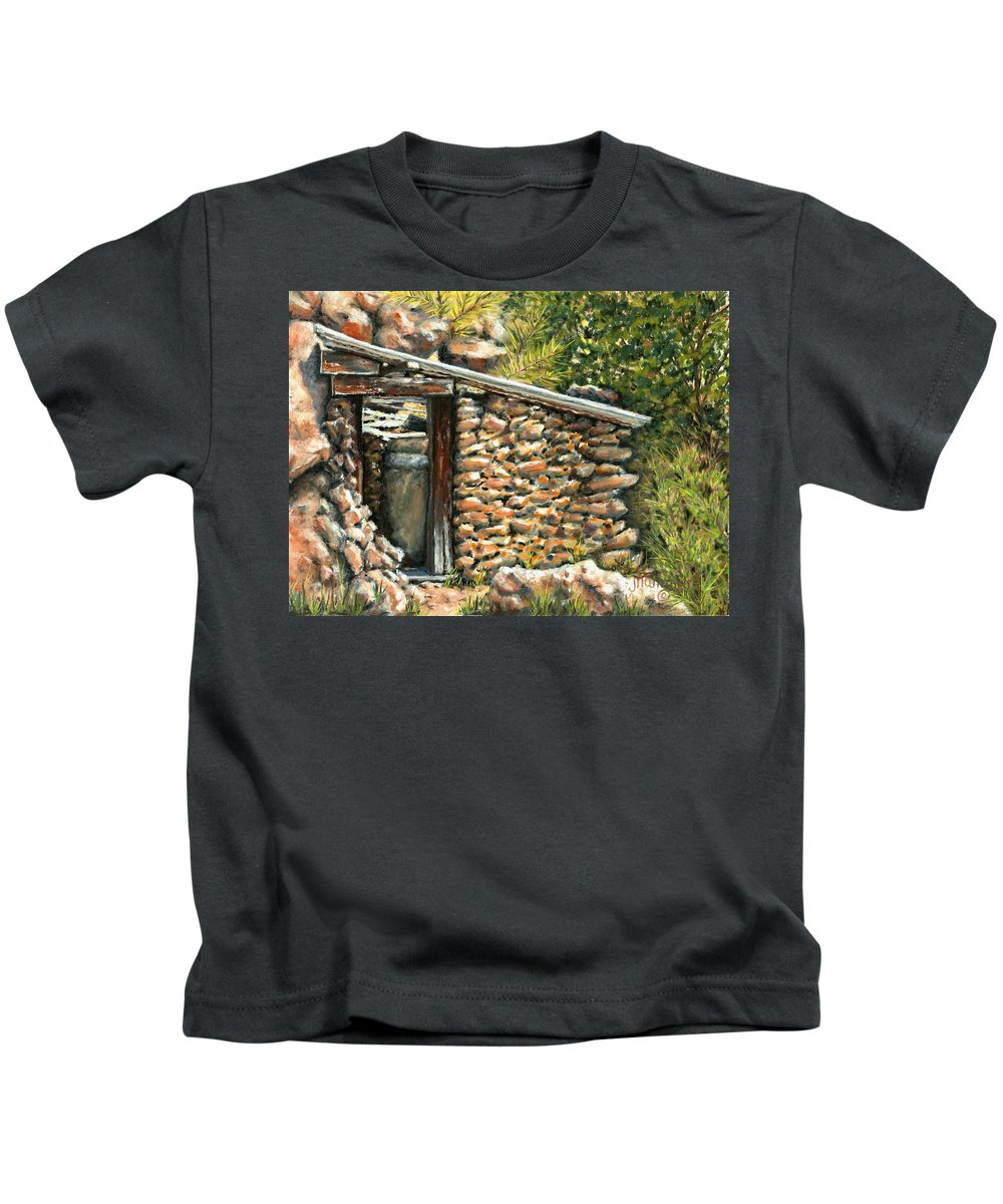 Rustic Kids T-Shirt featuring the painting Bootlegger Days by Jennifer Hammer