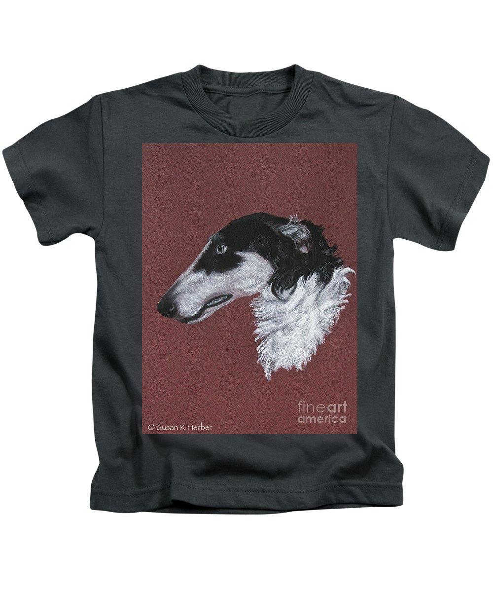 Borzoi Kids T-Shirt featuring the drawing Borzoi by Susan Herber