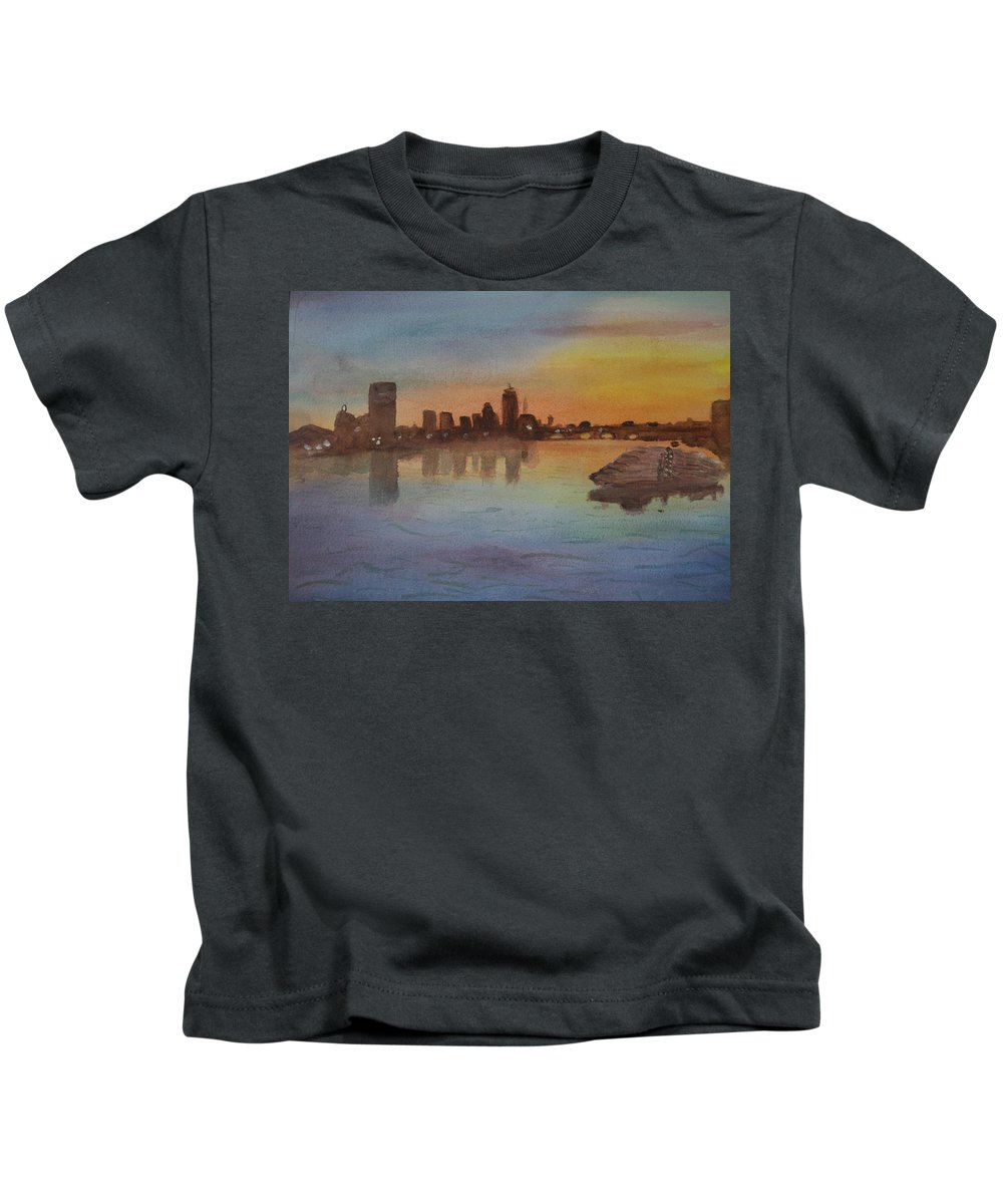 Boston Kids T-Shirt featuring the painting Boston Charles River At Sunset by Donna Walsh