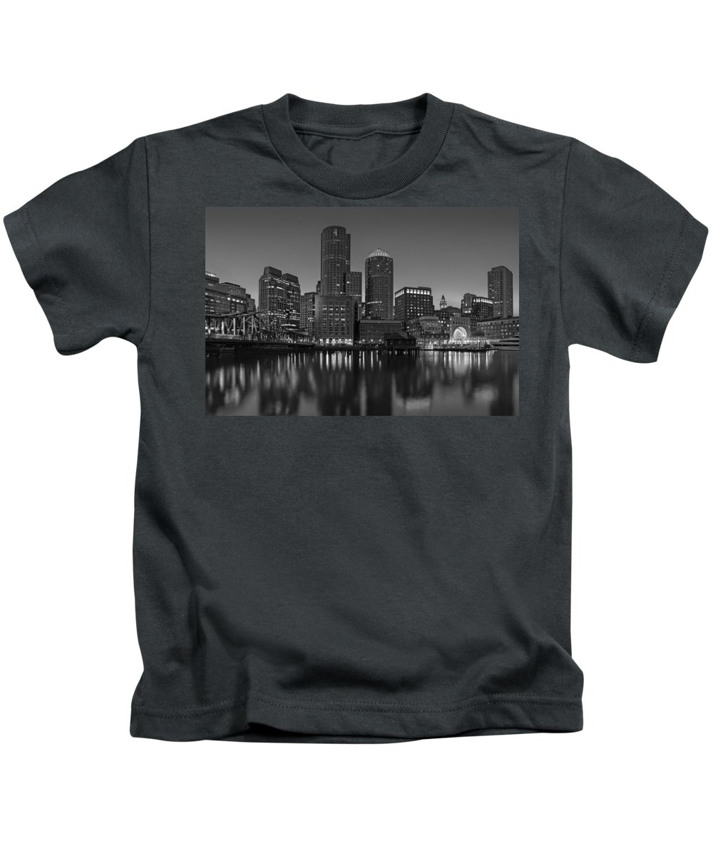 Boston Kids T-Shirt featuring the photograph Boston Skyline Seaport District Bw by Susan Candelario