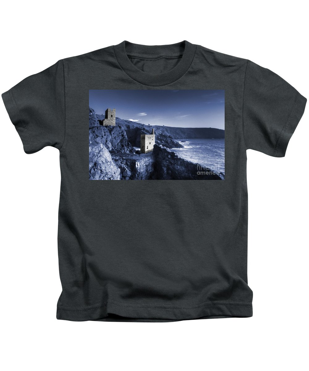Bottallack Kids T-Shirt featuring the photograph Bottallack In Blue by Rob Hawkins