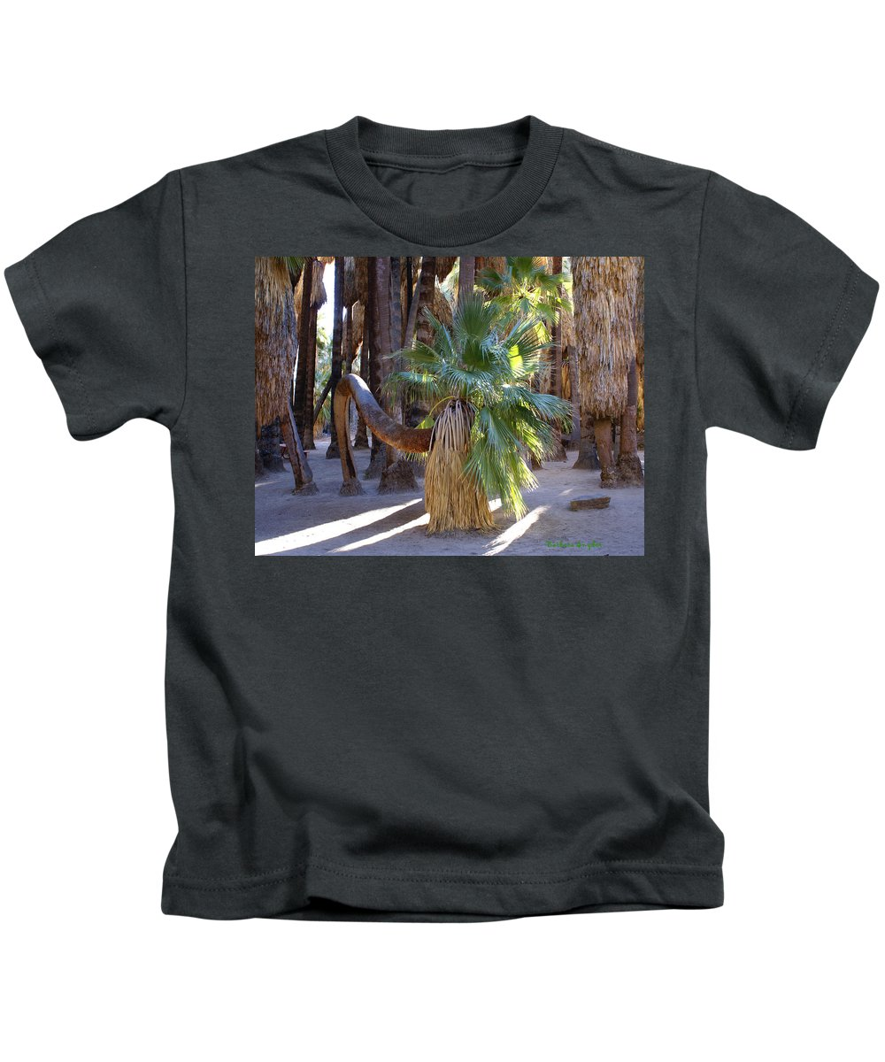 Bowing Palm Tree Kids T-Shirt featuring the digital art Bowing Palm by Barbara Snyder