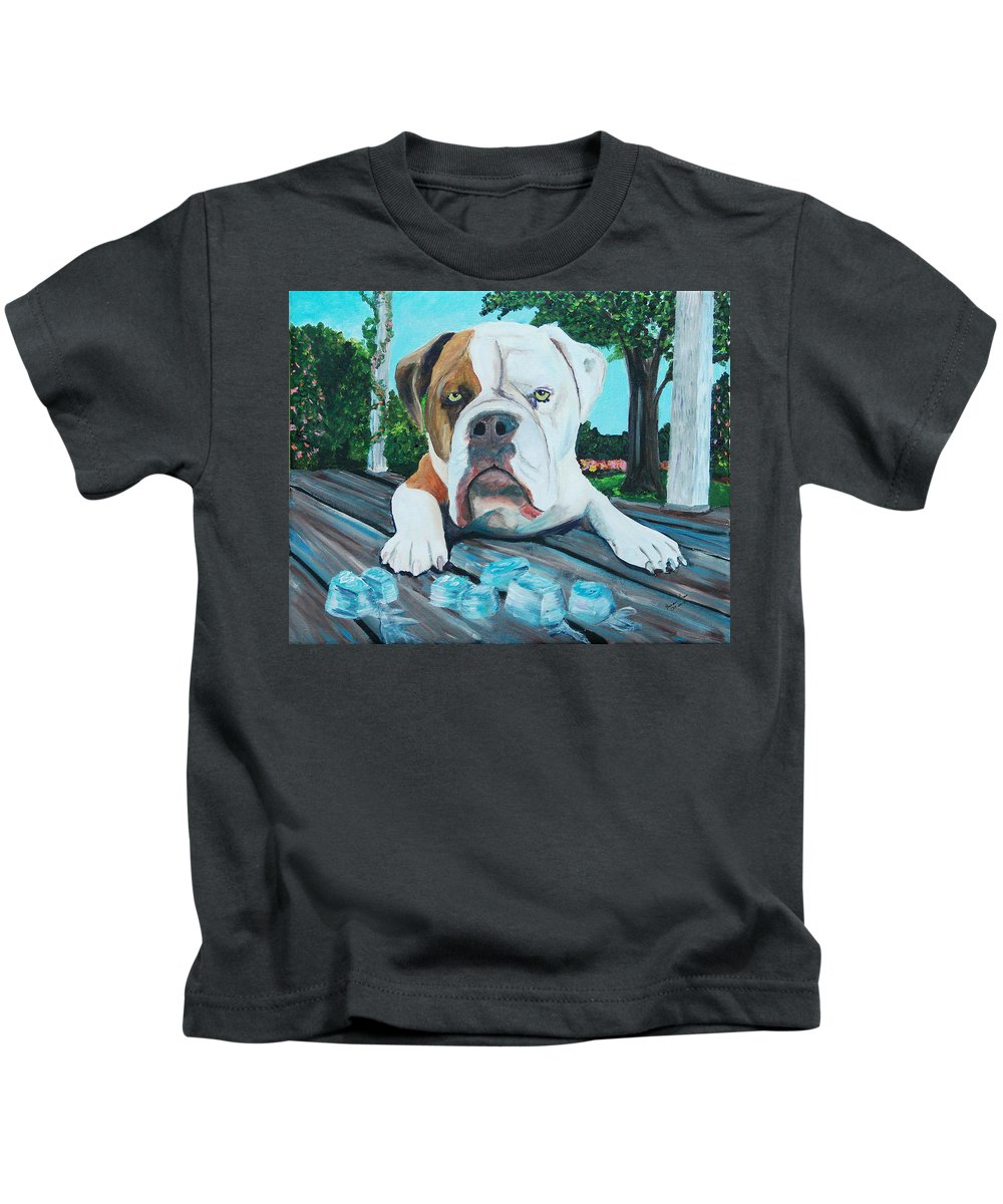 Bulldogs Kids T-Shirt featuring the painting Bowser On Ice by Frankie Picasso