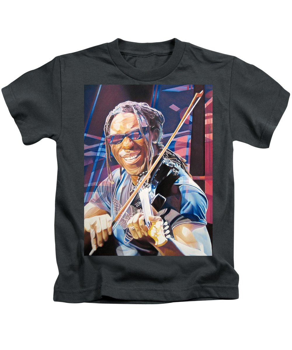 Boyd Tinsley Kids T-Shirt featuring the drawing Boyd Tinsley And 2007 Lights by Joshua Morton