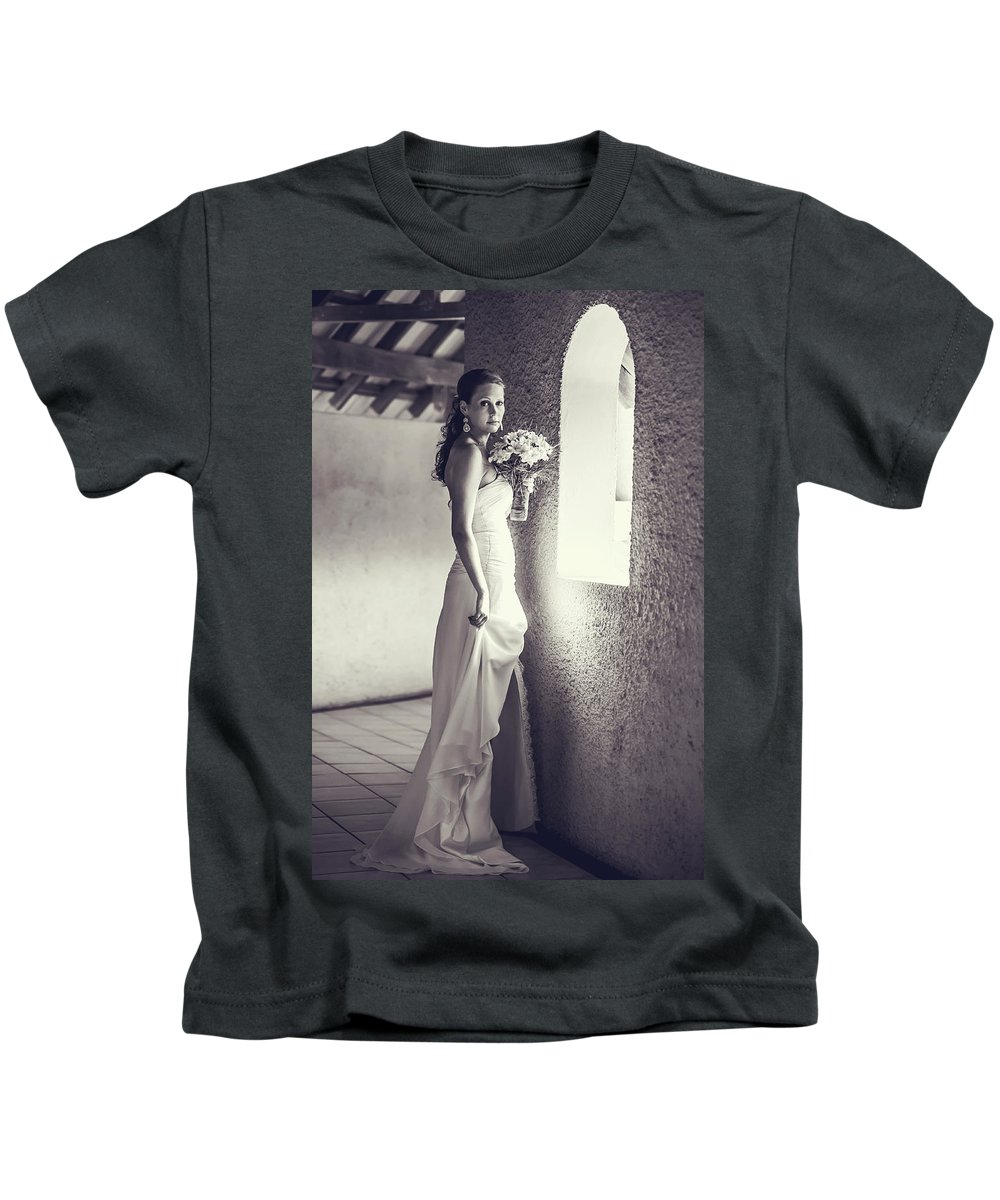 Marriage Kids T-Shirt featuring the photograph Bride At The Window. Black And White by Jenny Rainbow