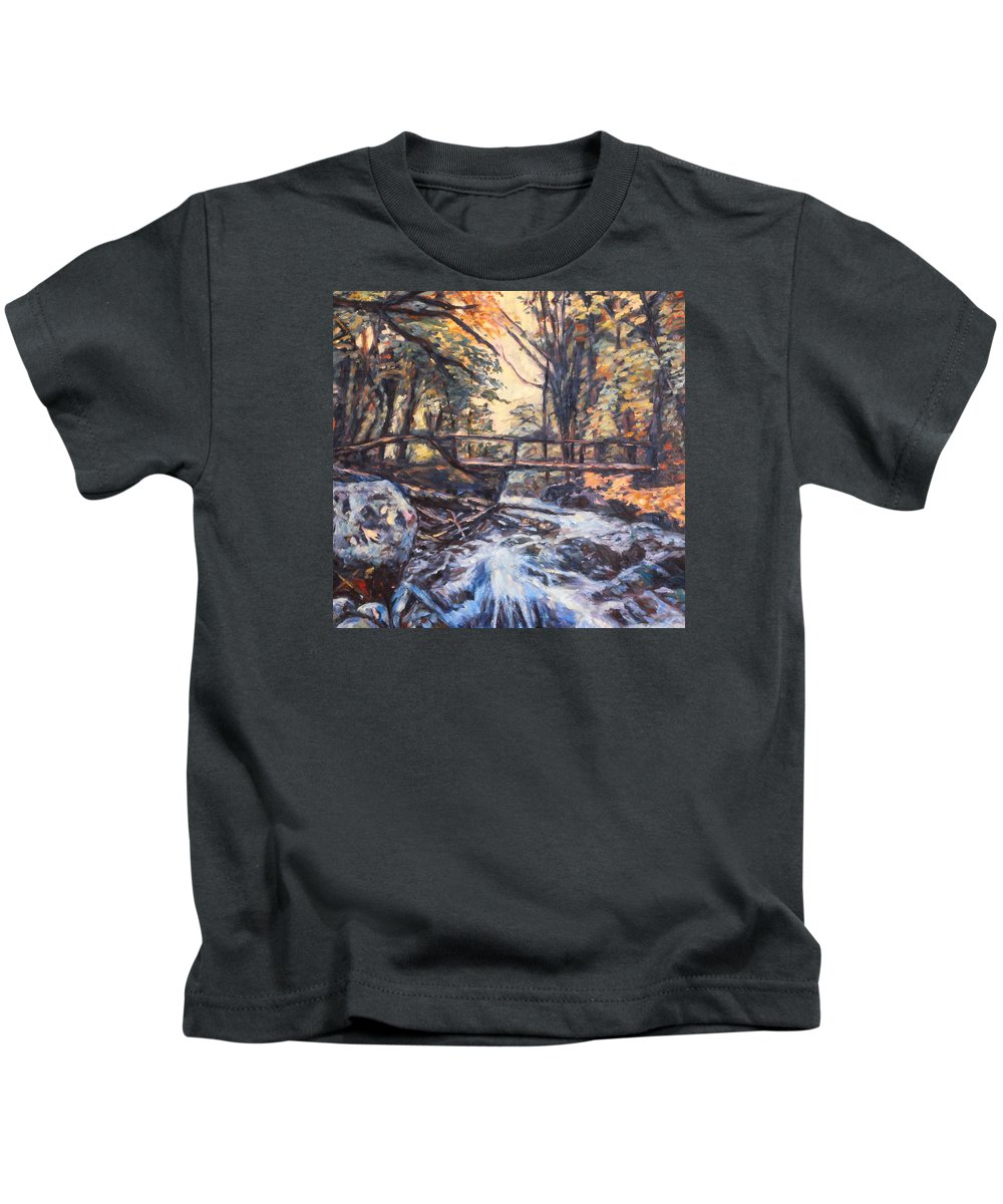 Creek Kids T-Shirt featuring the painting Morning Bridge In Woods by Kendall Kessler