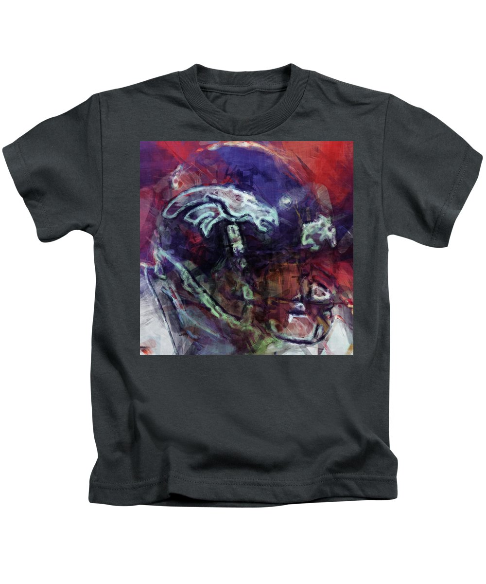 Denver Kids T-Shirt featuring the digital art Broncos Art by David G Paul
