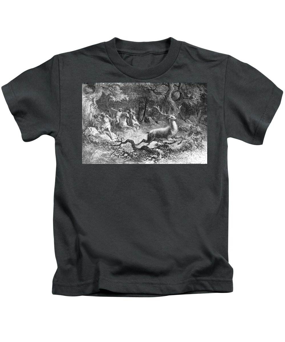 Bronze Age Kids T-Shirt featuring the photograph Bronze Age, Hunting Scene by British Library