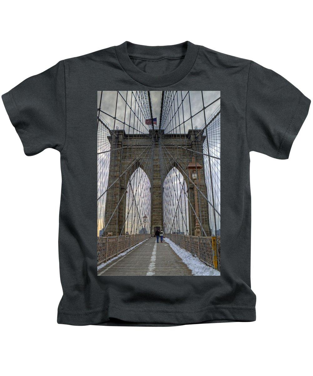Brooklyn Bridge Kids T-Shirt featuring the photograph Brooklyn Bridge by Jerry Gammon