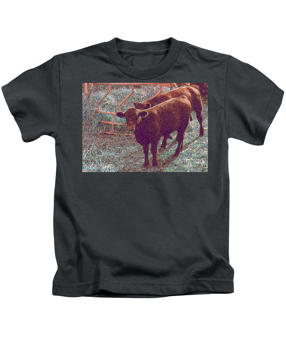 Cow Kids T-Shirt featuring the photograph Brown Calves by Minding My Visions by Adri and Ray