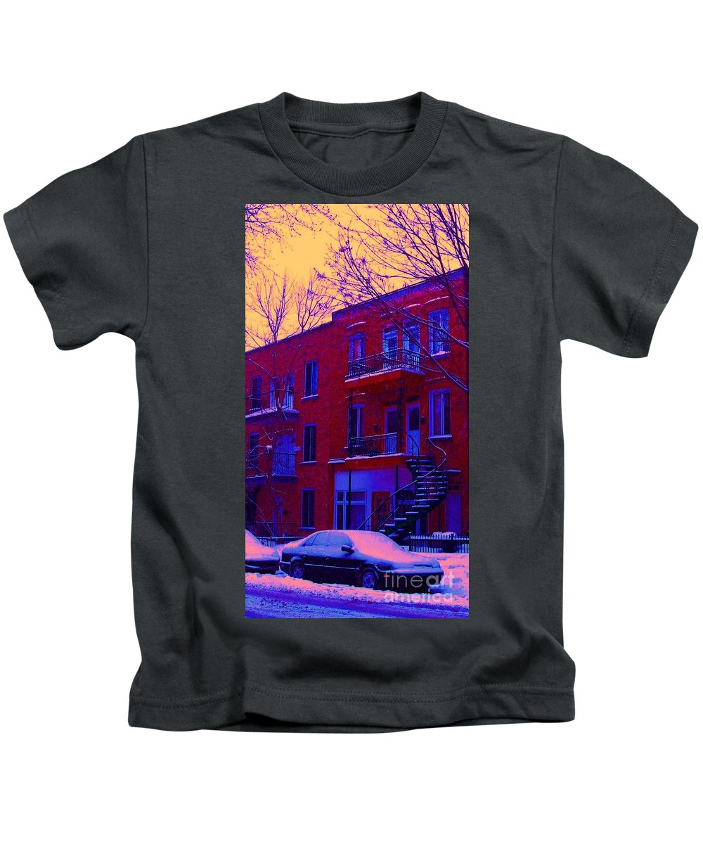 Montreal Kids T-Shirt featuring the photograph Brownstones In Winter 6 by Carole Spandau