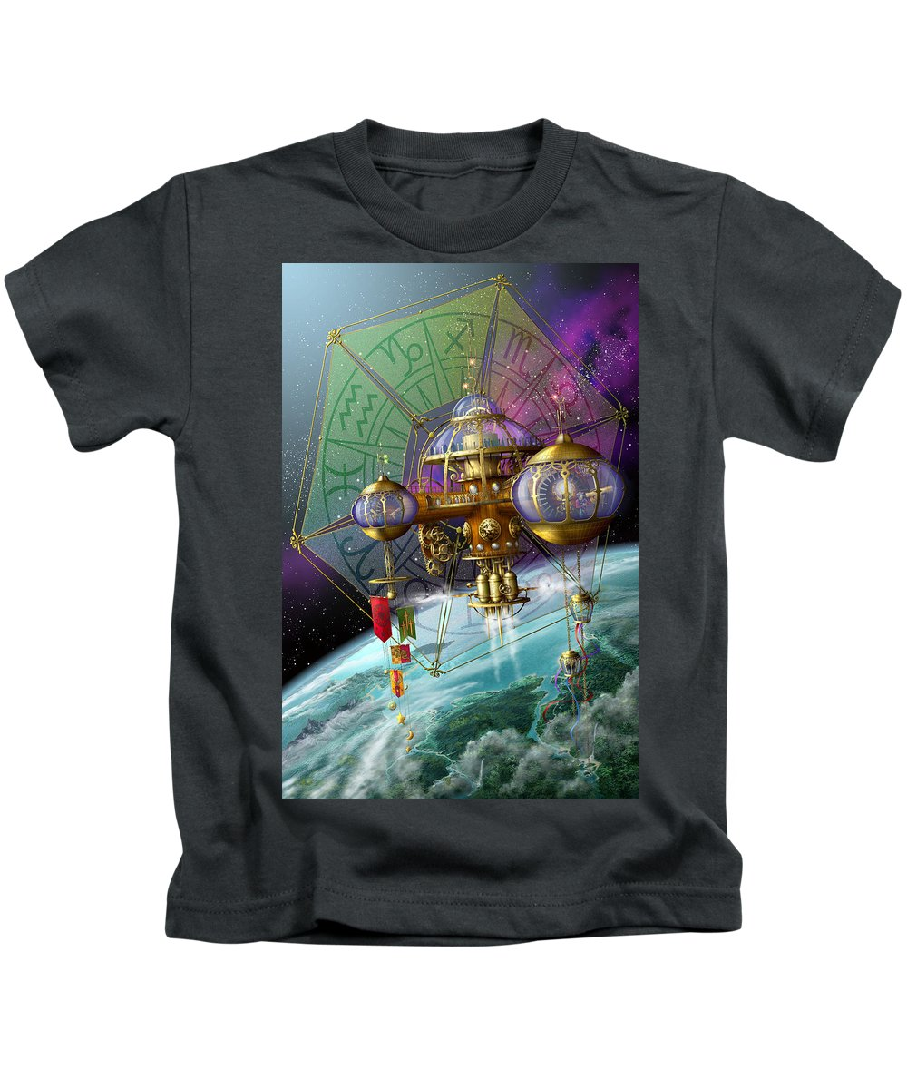 Ciro Marchetti Kids T-Shirt featuring the digital art Bubble Telescope by Ciro Marchetti