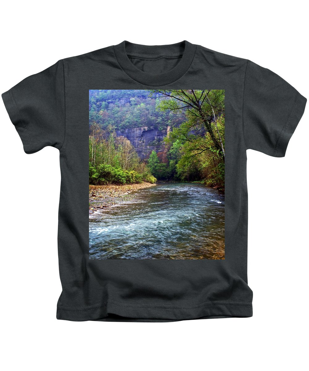 Buffalo National River Kids T-Shirt featuring the photograph Buffalo River Downstream by Marty Koch