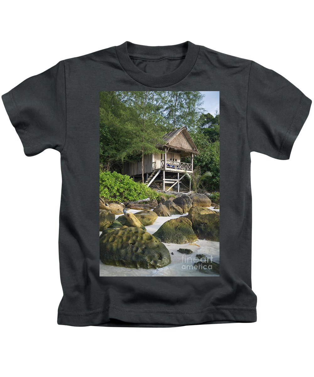Accomodation Kids T-Shirt featuring the photograph Bungalow In Koh Rong Island Beach In Cambodia by Jacek Malipan