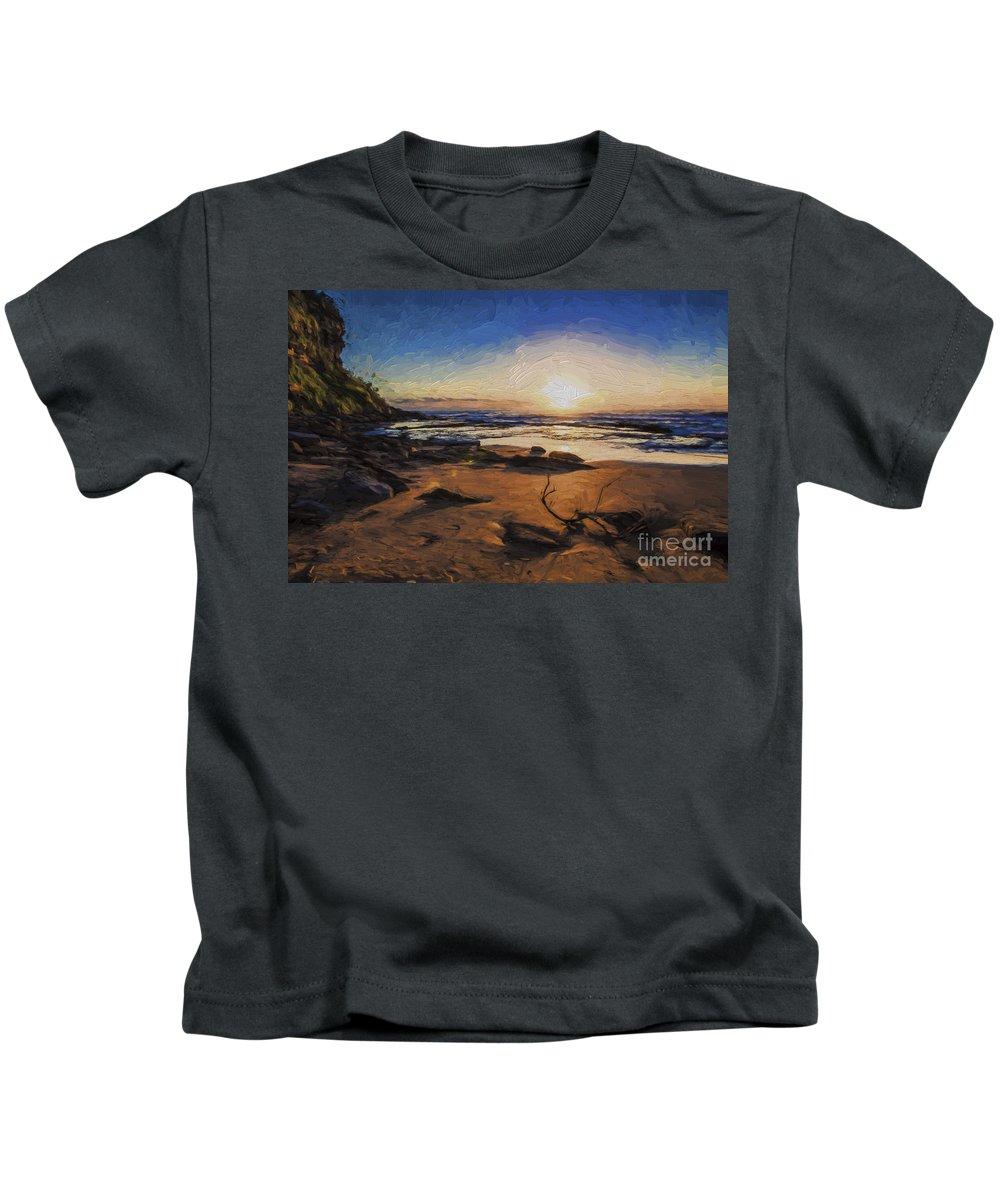 Bungan Beach Kids T-Shirt featuring the photograph Bungan Beach sunrise by Sheila Smart Fine Art Photography