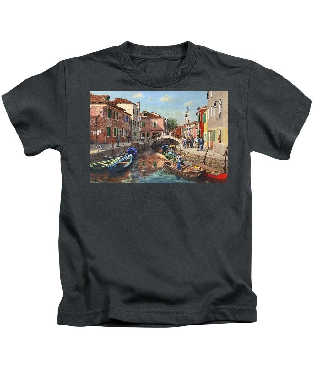 Landscape Kids T-Shirt featuring the painting Burano Canal Venice by Richard Harpum