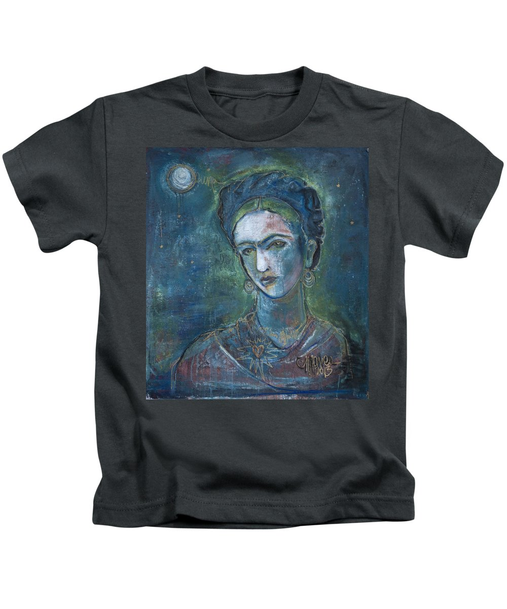 Frida Kahlo Kids T-Shirt featuring the painting Burn It Blue Frida by Laurie Maves ART
