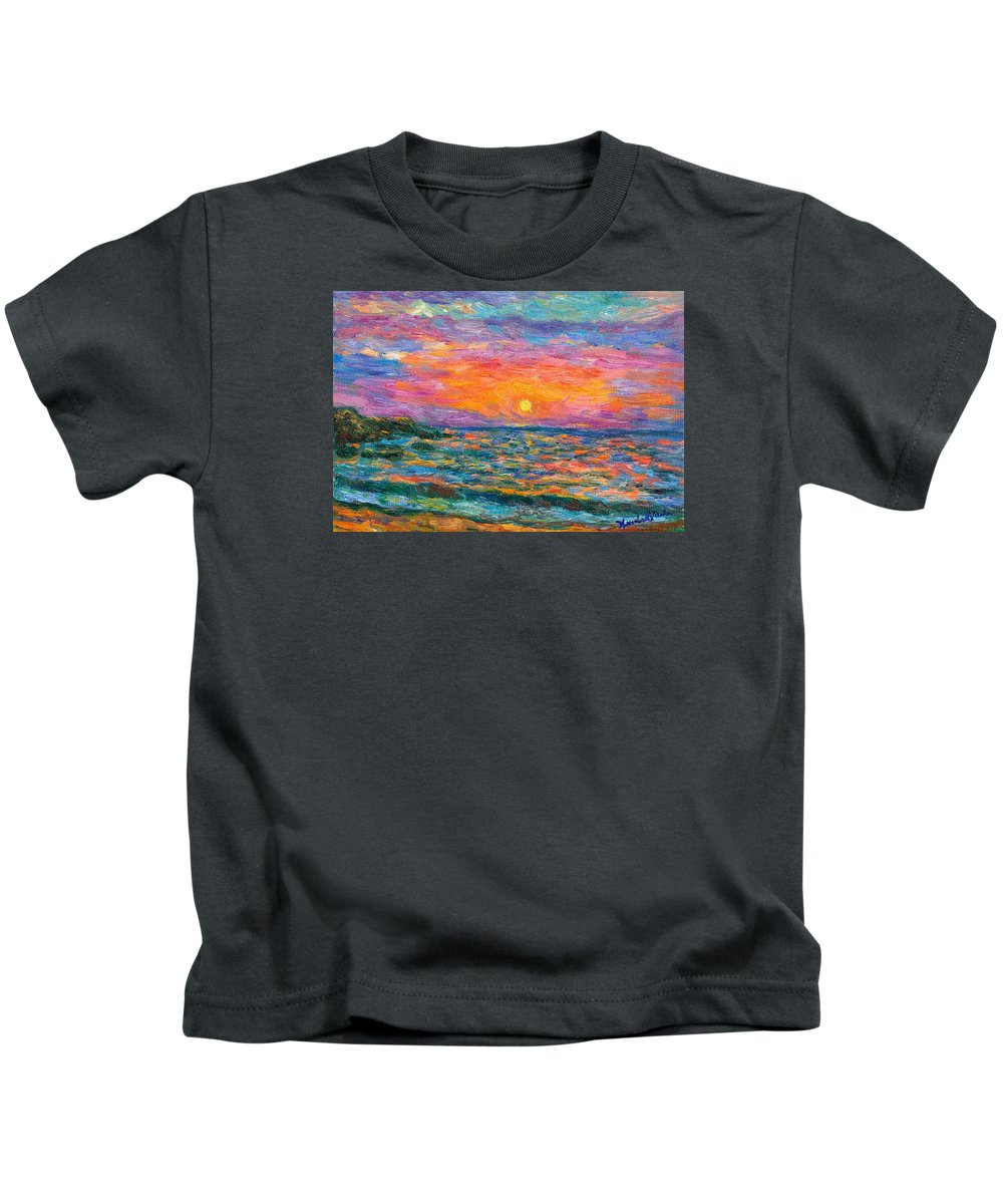 Ocean Kids T-Shirt featuring the painting Burning Shore by Kendall Kessler