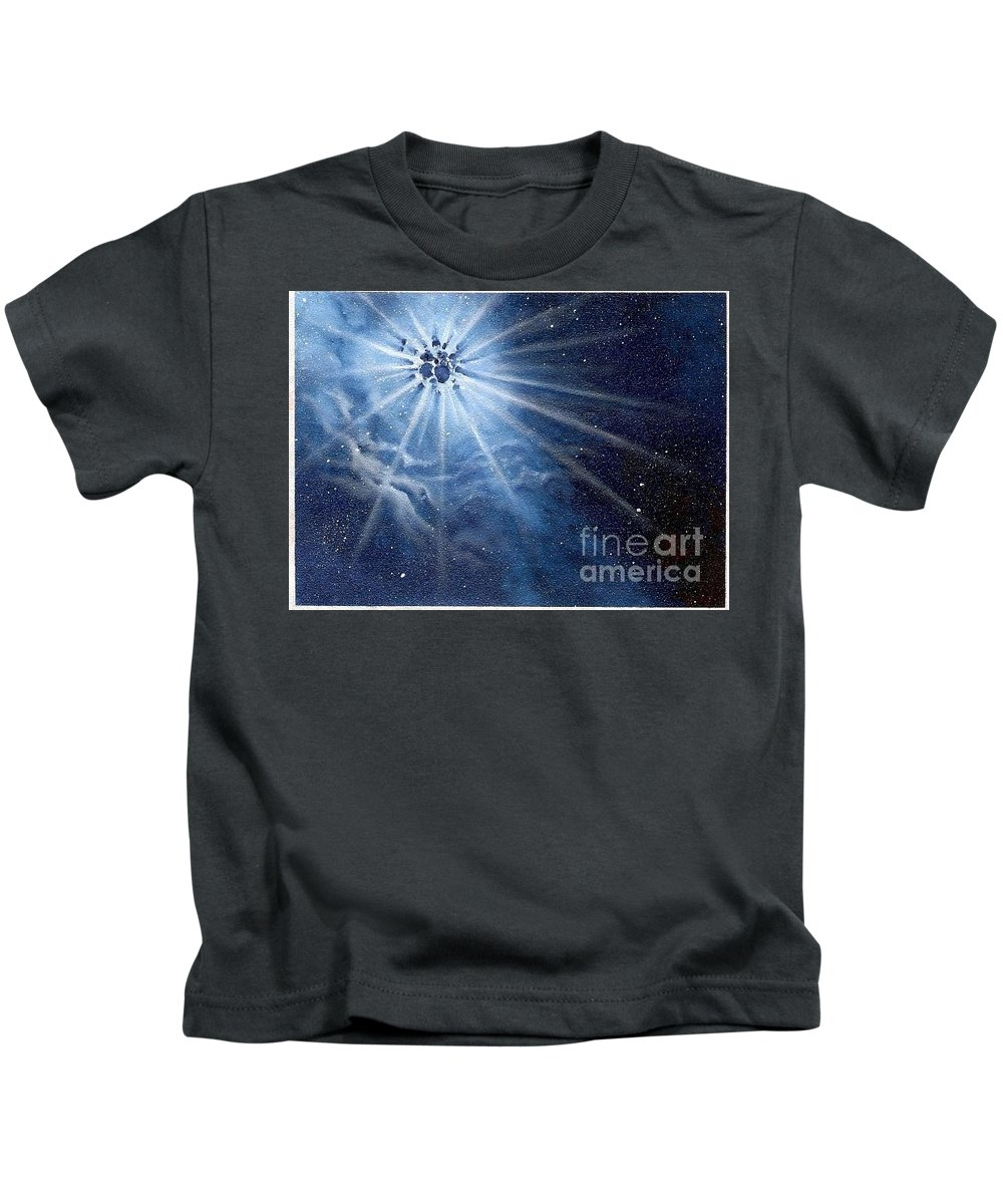 Outerspace Kids T-Shirt featuring the painting Burst Of Light by Murphy Elliott