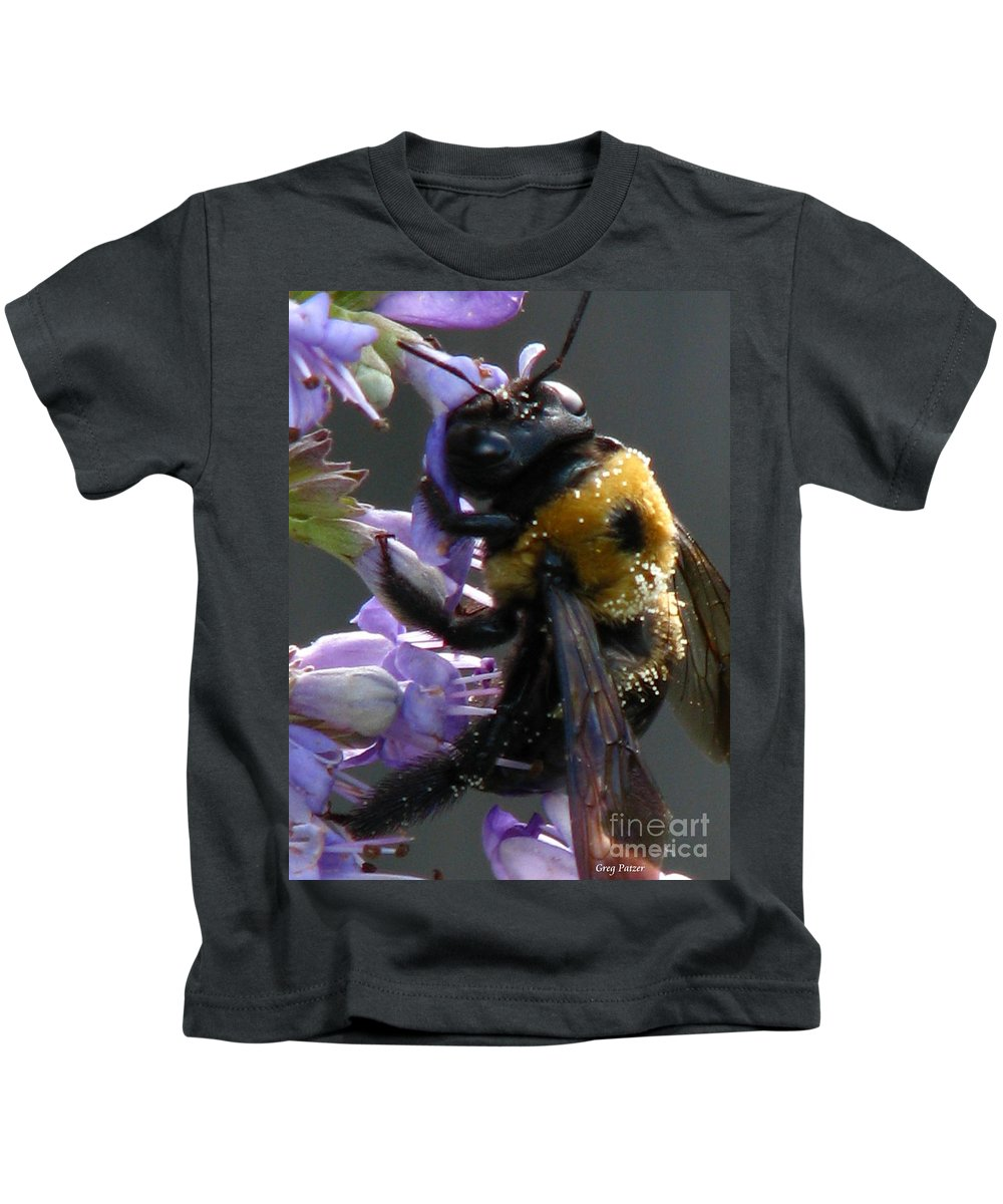Patzer Kids T-Shirt featuring the photograph Busy Bee by Greg Patzer