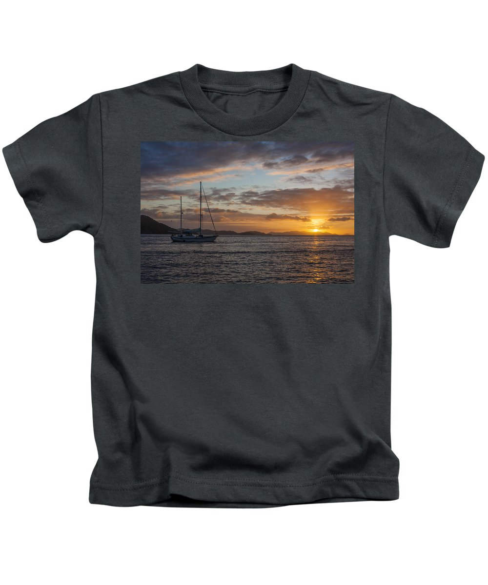 3scape Kids T-Shirt featuring the photograph Bvi Sunset by Adam Romanowicz
