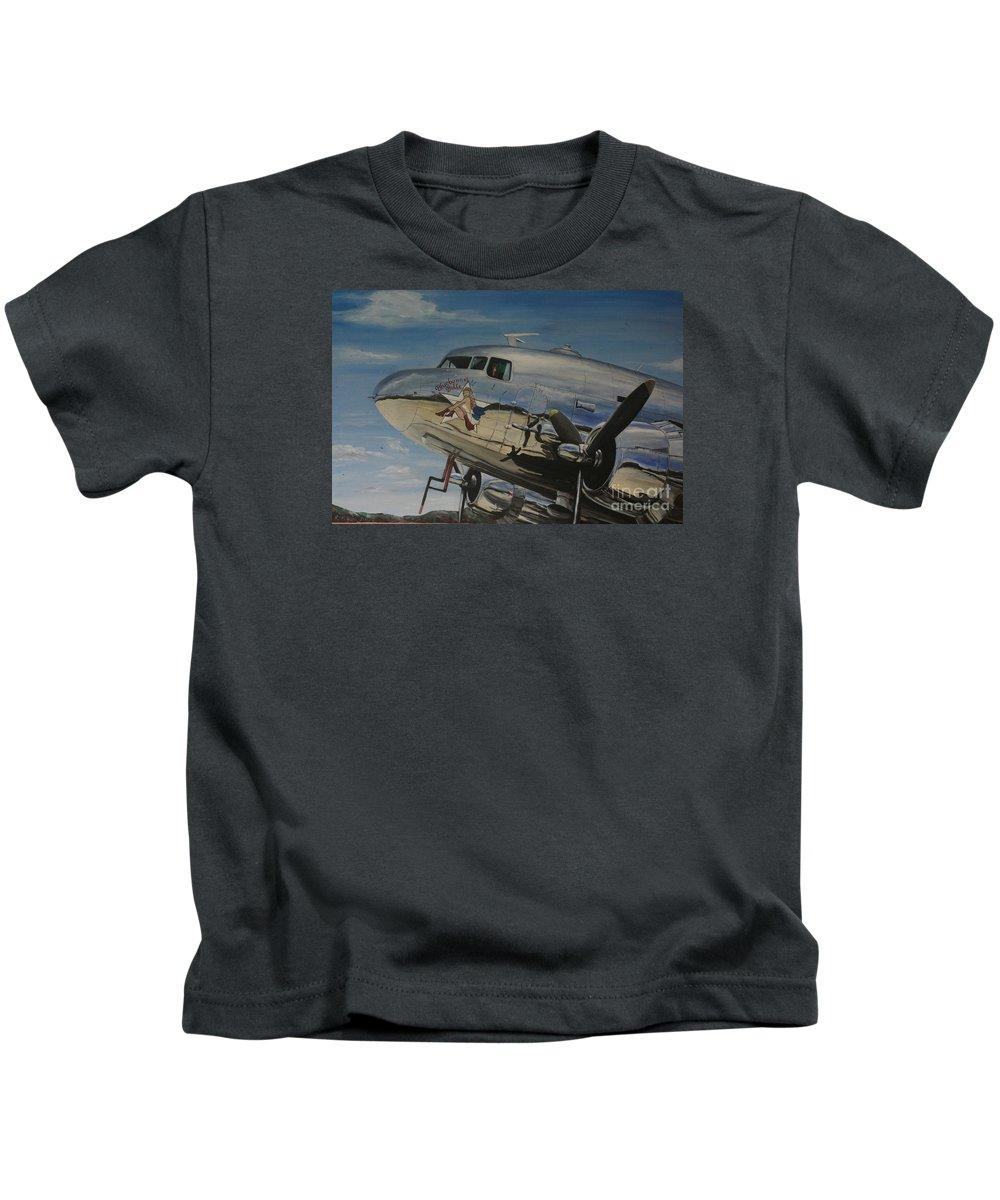 Warbirds Kids T-Shirt featuring the painting C47b Skytrain Bluebonnet Belle Warbird 1944 by Richard John Holden RA