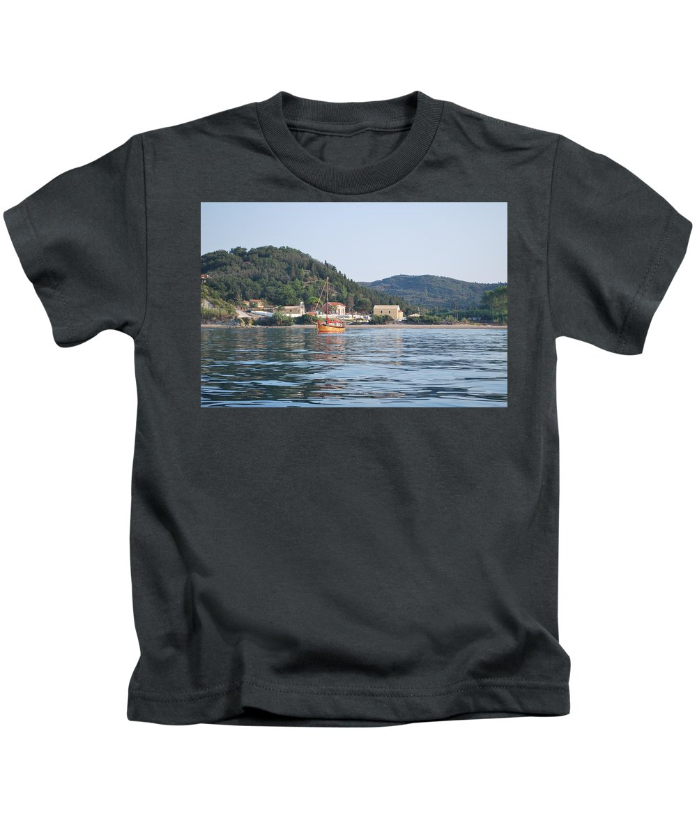 Calm Sea 3 Kids T-Shirt featuring the photograph Calm Sea 3 by George Katechis
