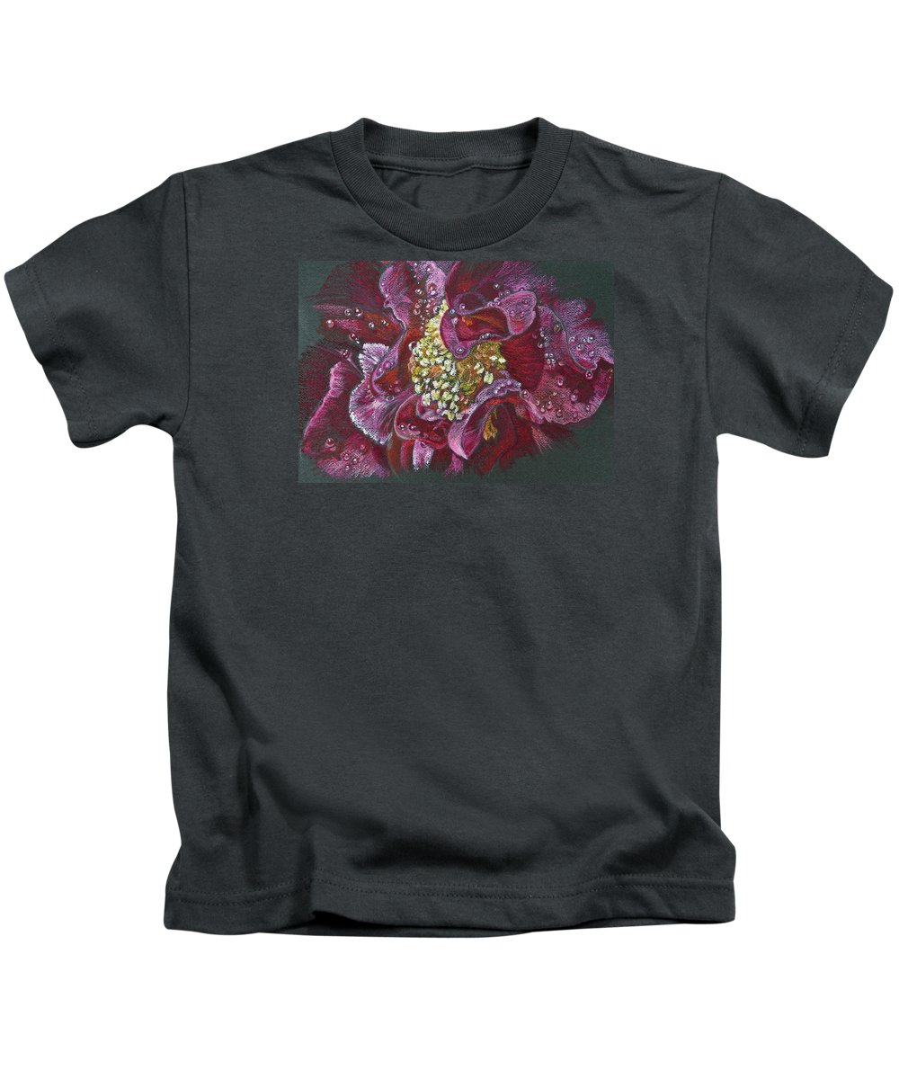 Camellia Kids T-Shirt featuring the pastel Camellia Rain by Michele Myers