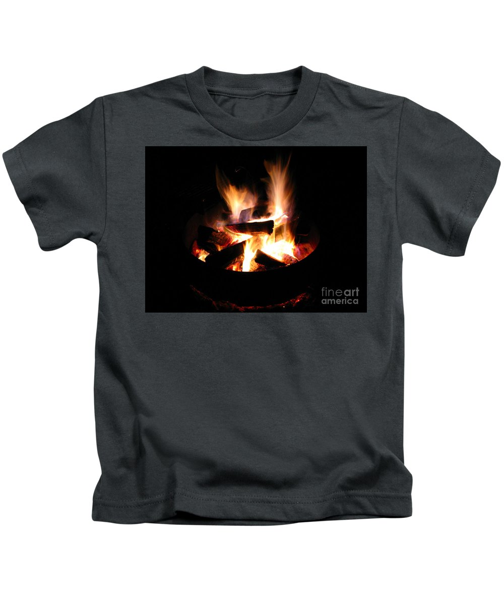 Camp Fire Kids T-Shirt featuring the photograph Camp Fire by Michael Krek