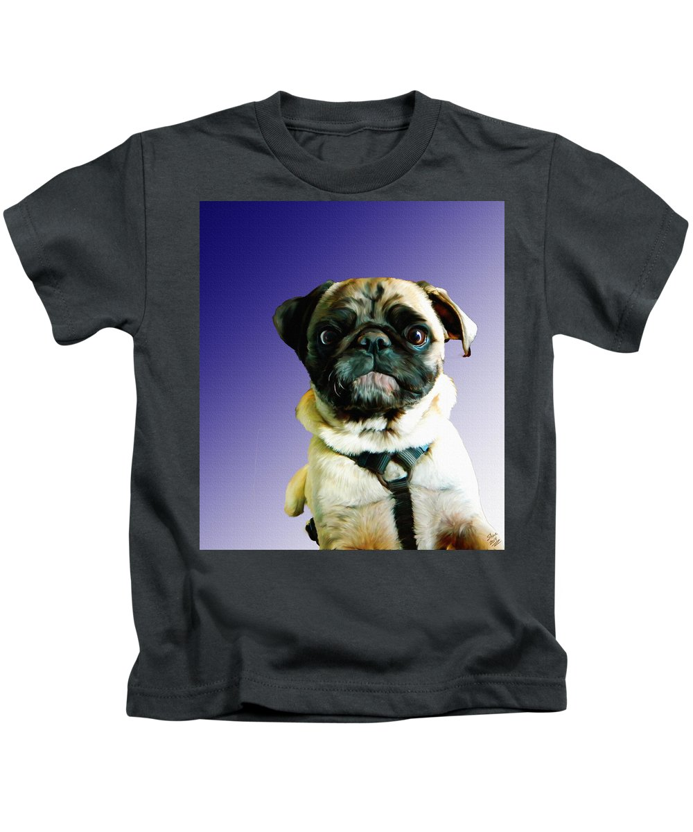 Pug Kids T-Shirt featuring the painting Can I Come Too by Shere Crossman