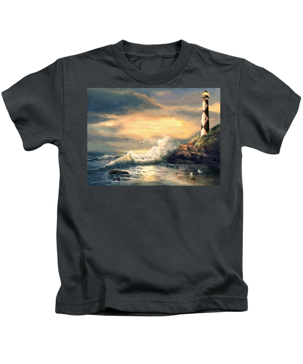 Coastal Lighthouse At Sunset Kids T-Shirt featuring the painting Cape Lookout Lighthouse North Carolina At Sunset by Regina Femrite