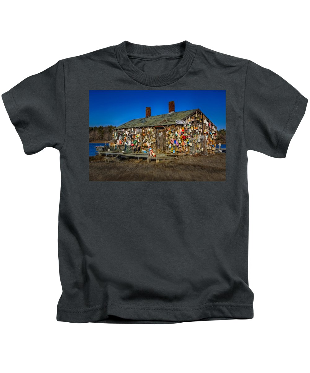 Lobster Buoys Kids T-Shirt featuring the photograph Cape Neddick Lobster Pound by Susan Candelario