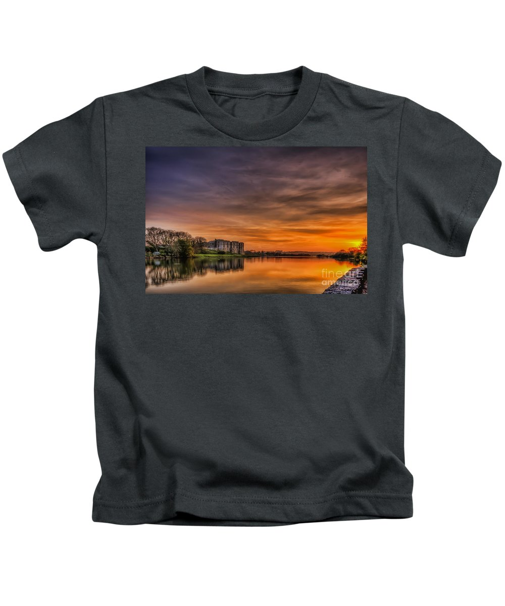 Carew Castle Kids T-Shirt featuring the photograph Carew Castle Sunset 1 by Steve Purnell