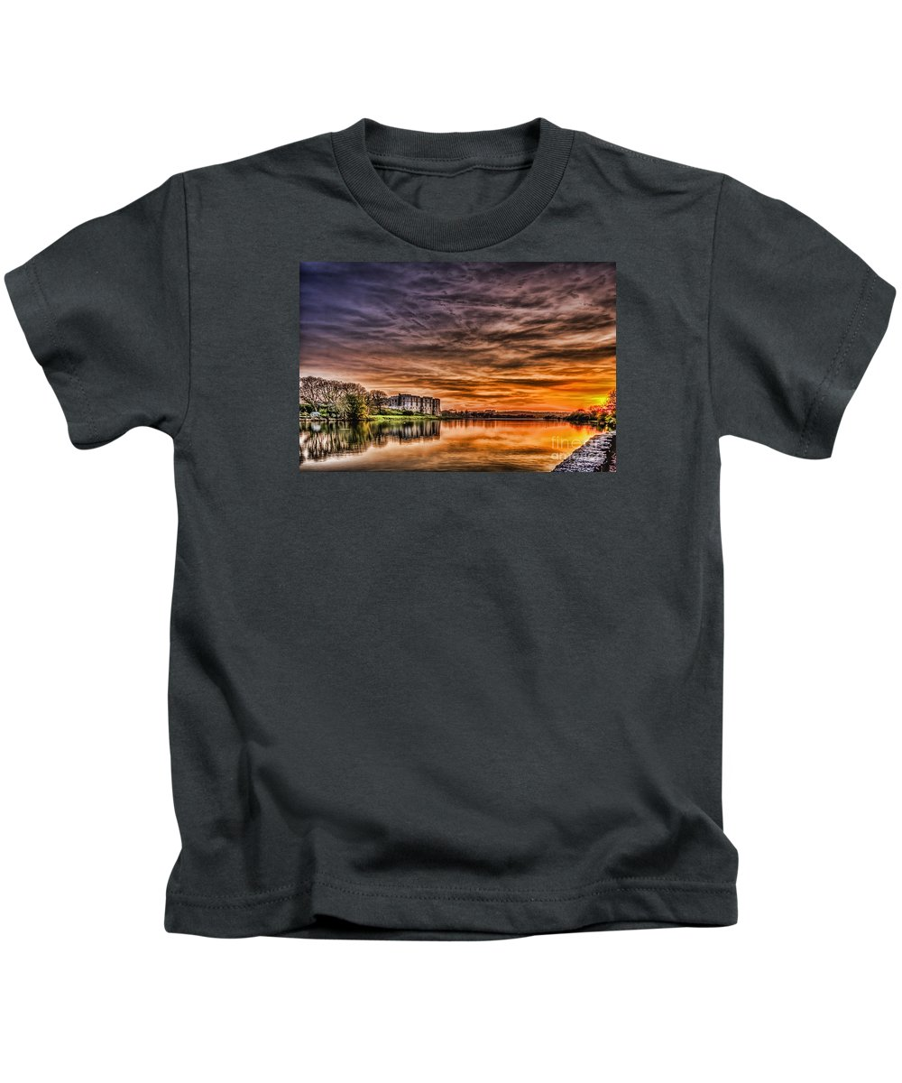 Carew Castle Kids T-Shirt featuring the photograph Carew Castle Sunset 2 by Steve Purnell