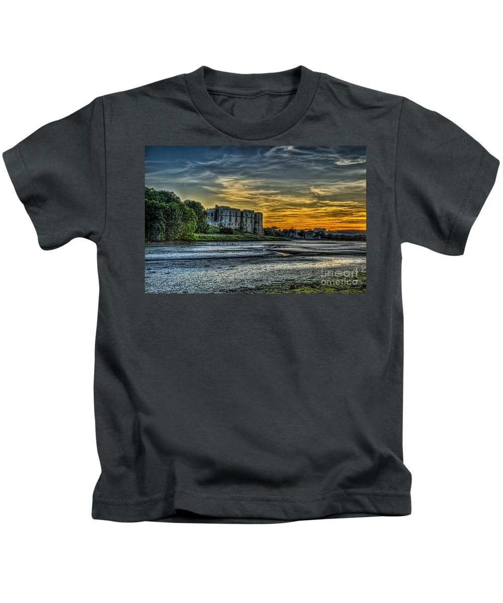 Carew Castle Kids T-Shirt featuring the photograph Carew Castle Sunset 3 by Steve Purnell