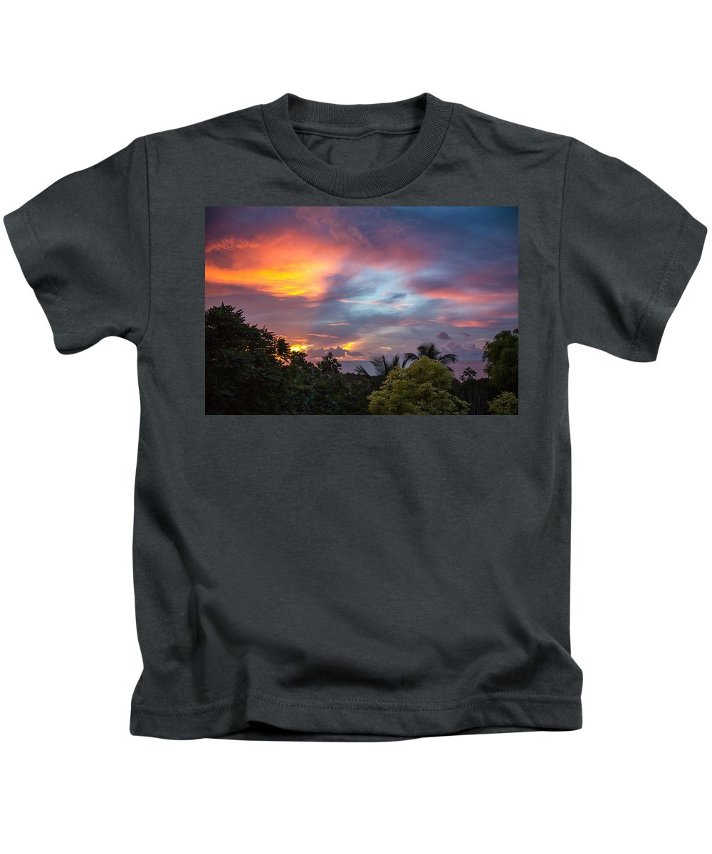 Sunset Kids T-Shirt featuring the photograph Caribbean Colors by Hugh Stickney