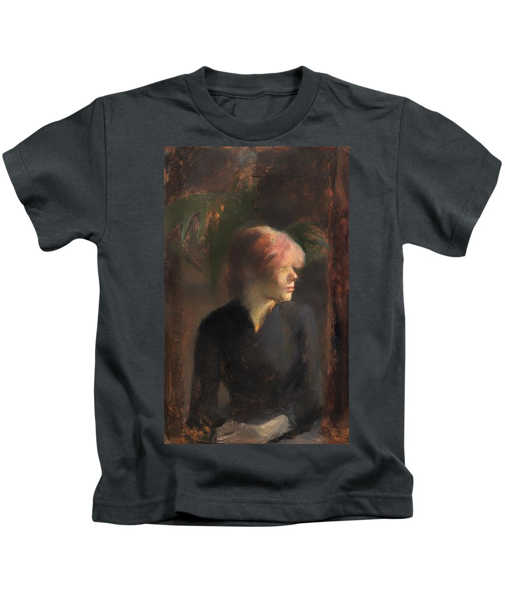 Portait Kids T-Shirt featuring the painting Carmen Guadin by Mountain Dreams