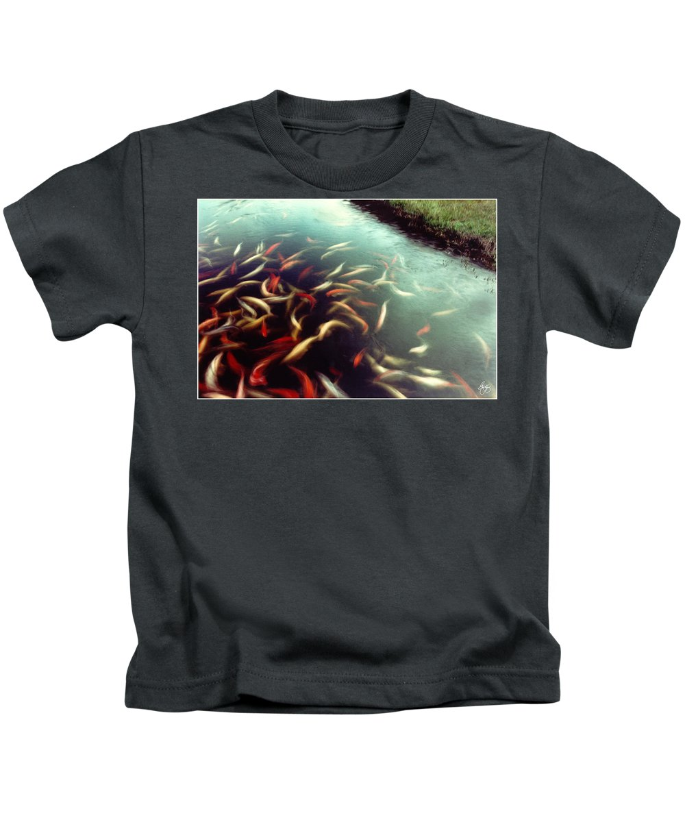 Motion Kids T-Shirt featuring the photograph Carp Pond Colors by Wayne King