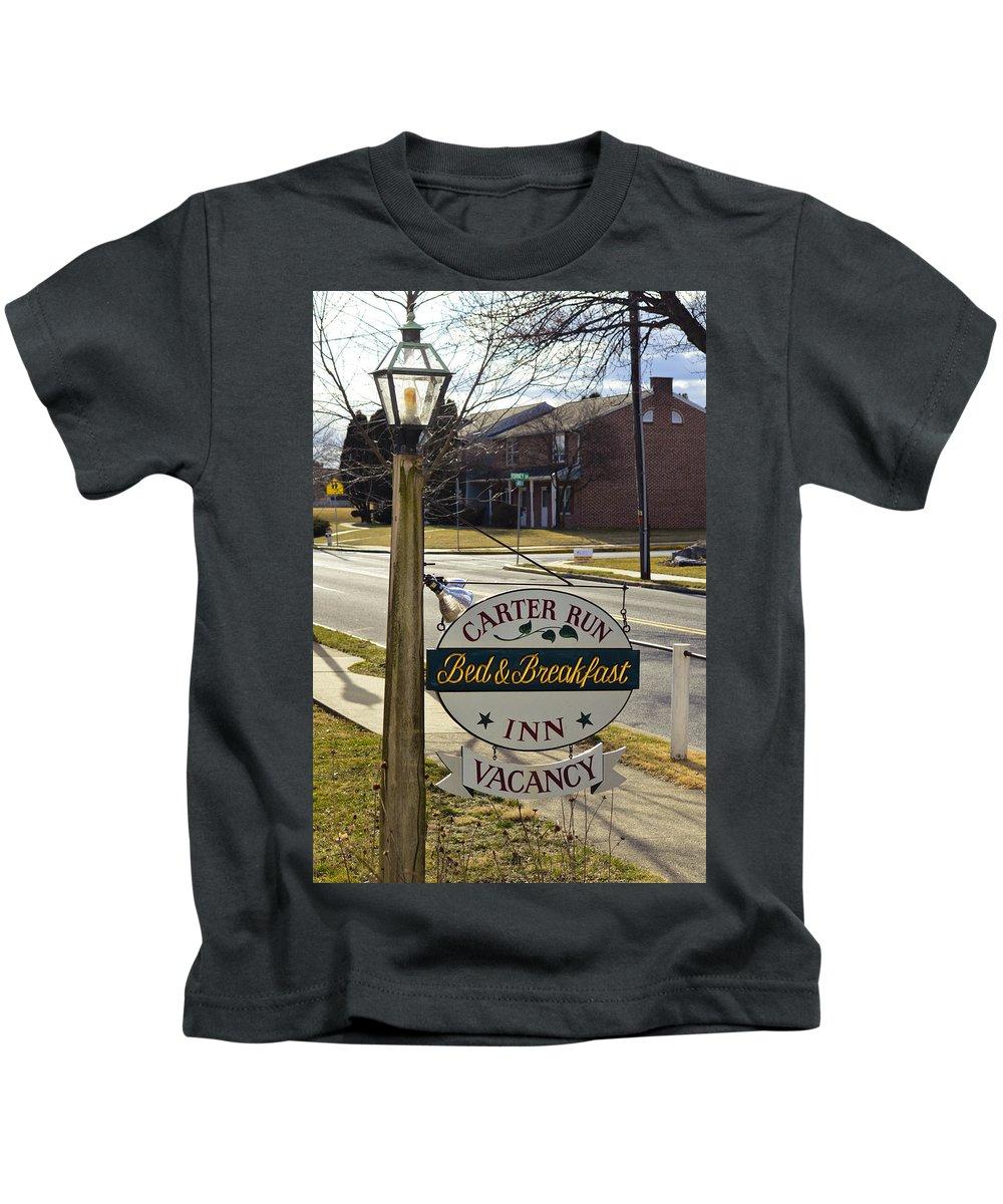 Kids T-Shirt featuring the mixed media Carter Run Inn 1 by Trish Tritz