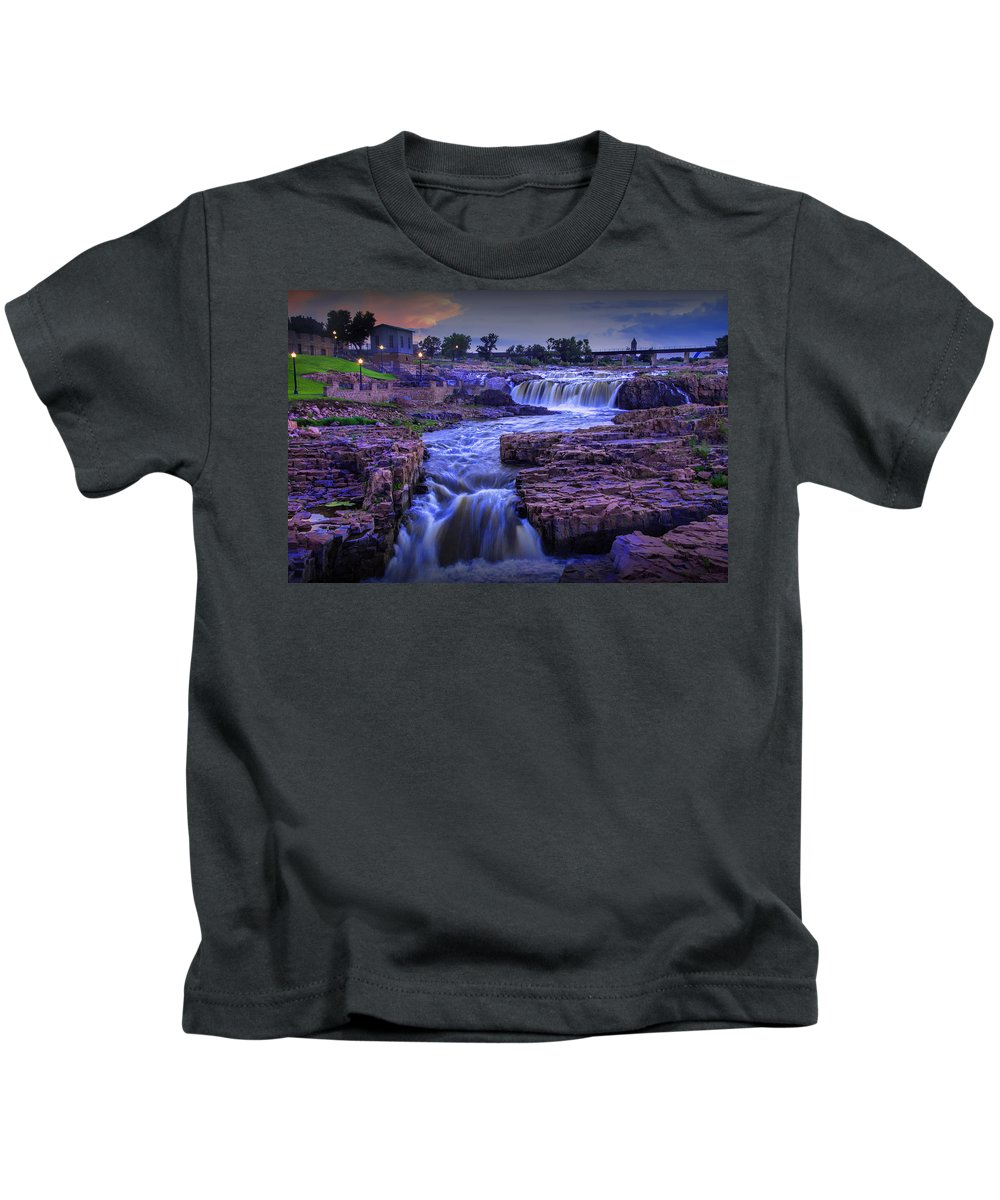 Midwest Kids T-Shirt featuring the photograph Cascading Waterfalls At Sunset by Randall Nyhof