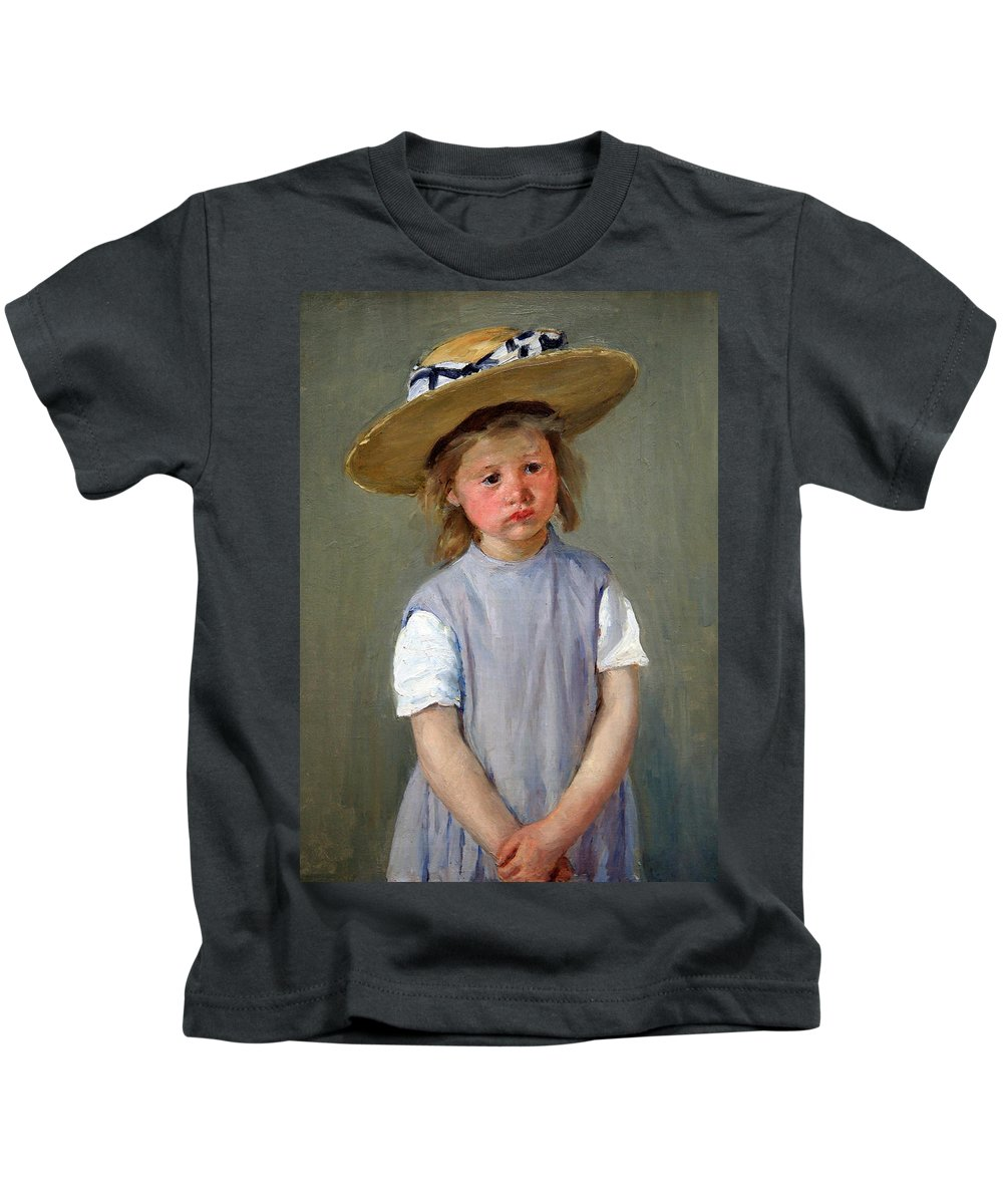 Child In A Straw Hat Kids T-Shirt featuring the photograph Cassatt's Child In A Straw Hat by Cora Wandel