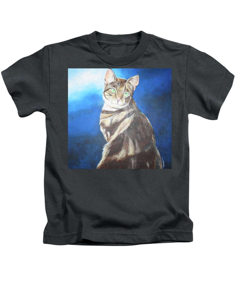 Persian Kids T-Shirt featuring the painting Cat Profile by Thomas J Herring