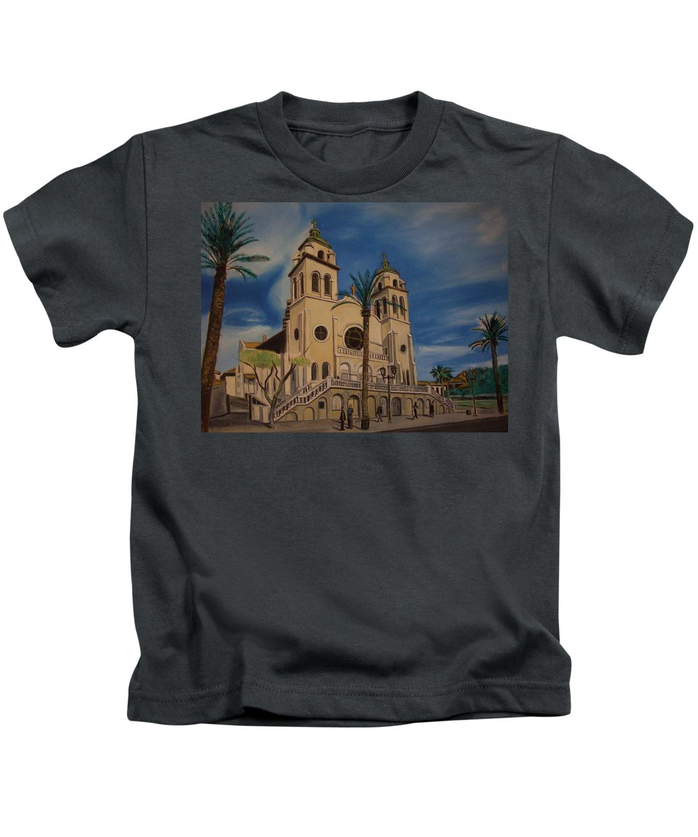 Kids T-Shirt featuring the painting Cathedral by Jude Darrien