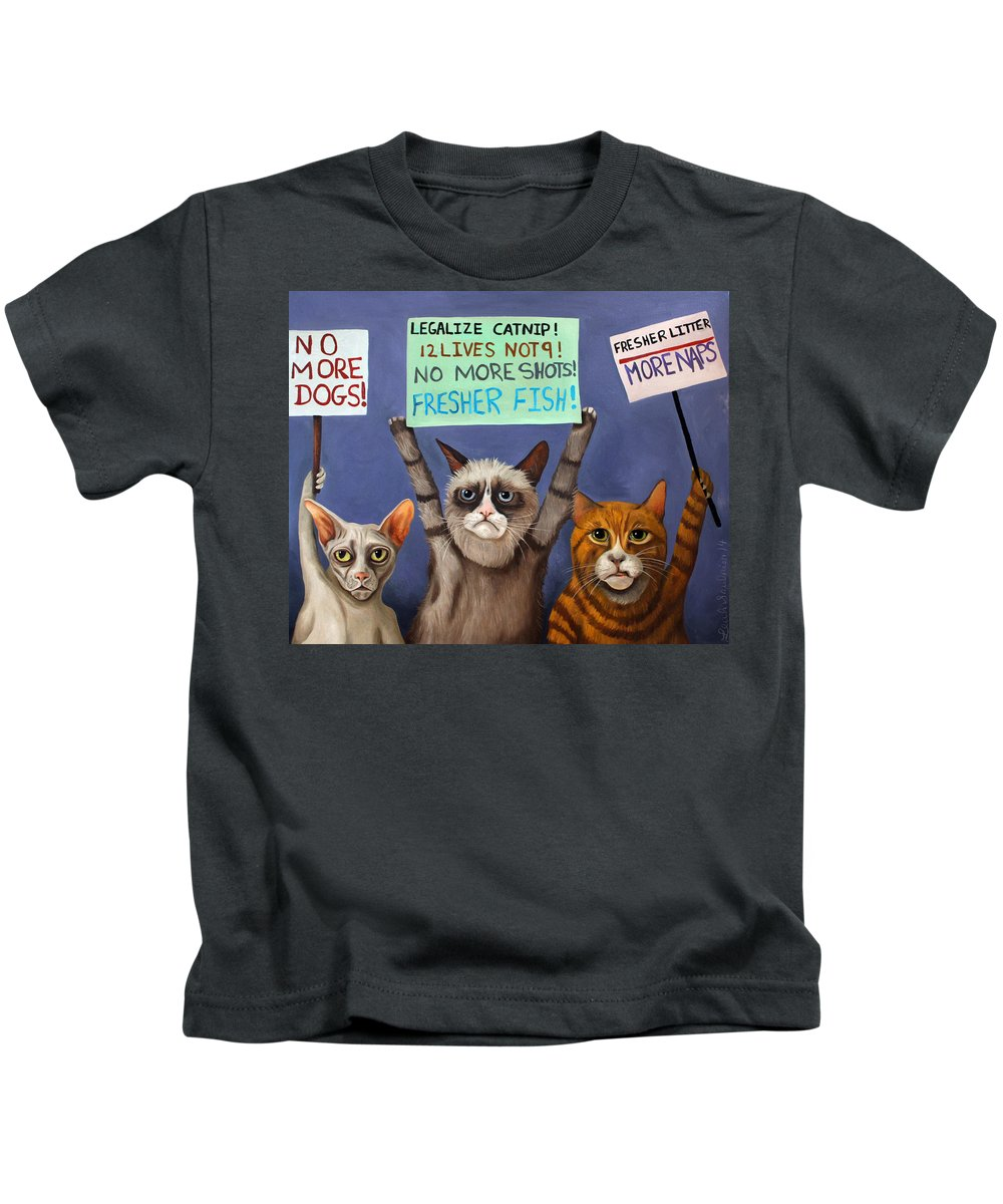 Cats Kids T-Shirt featuring the painting Cats On Strike Edit 2 by Leah Saulnier The Painting Maniac