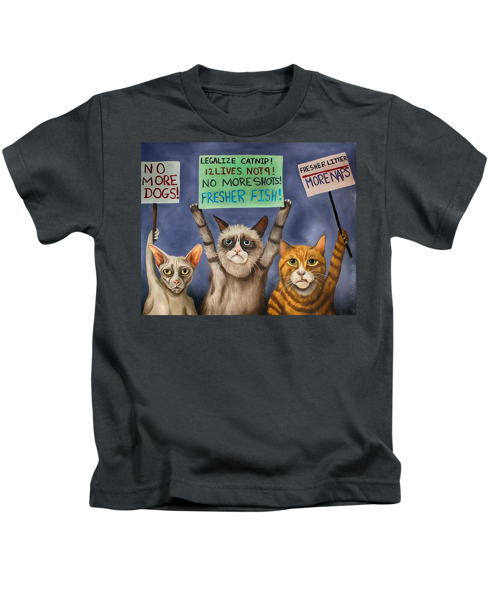 Cats Kids T-Shirt featuring the painting Cats On Strike Edit 3 by Leah Saulnier The Painting Maniac