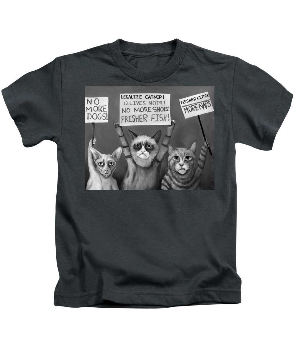 Cats Kids T-Shirt featuring the painting Cats On Strike Edit 4 by Leah Saulnier The Painting Maniac