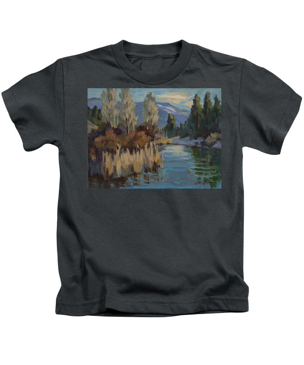 Pond Kids T-Shirt featuring the painting Cattails At Harry's Pond 1 by Diane McClary