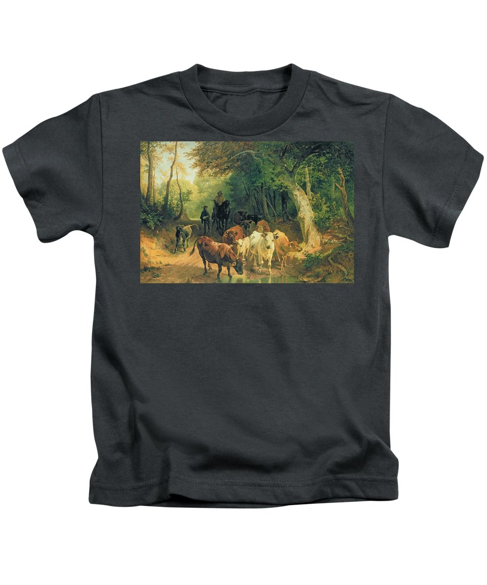 Cattle Kids T-Shirt featuring the painting Cattle Watering In A Wooded Landscape by Friedrich Johann Voltz